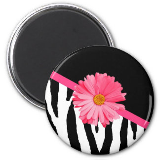 Girly Zebra Pattern Cute Pink Daisy With Name Magnet