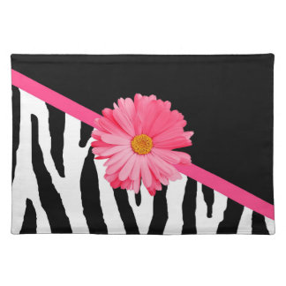 Girly Zebra Pattern Cute Pink Daisy With Name Cloth Placemat