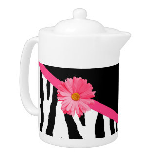 Girly Zebra Pattern Cute Pink Daisy With Name Teapot