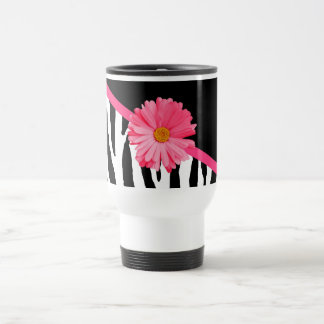 Girly Zebra Pattern Cute Pink Daisy With Name Travel Mug