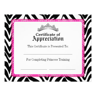 Girly Zebra Pink Lace and Tiara Certificate Letterhead