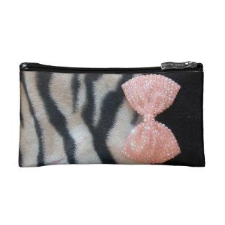 Girly Zebra Print & Pink Diamante Glitzy Bow Makeup Bag