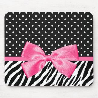 Girly Zebra Print Polka Dots and Cute Pink Ribbon Mouse Pad