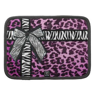 Girly zebra ribbon & bow, purple leopard print planner