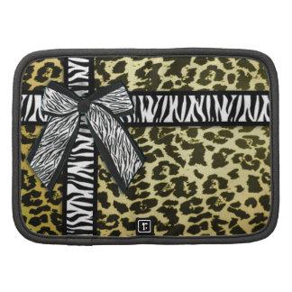 Girly zebra ribbon & bow, Yellow leopard print Planner
