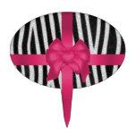girly zebra skin black and white pink bow cake topper