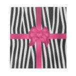 girly zebra skin black and white pink bow note pad