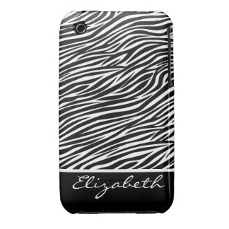Girly Zebra Stripe Pattern with Name - Black White Case-Mate iPhone 3 Cases