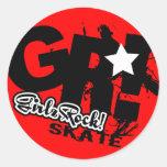 GirlzRock! Go Big Skate Classic Round Sticker