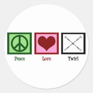 Giro del amor de la paz pegatina redonda