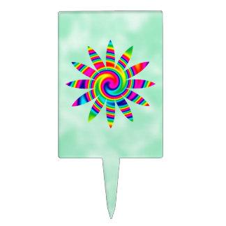 Giro del arco iris de la flor decoración para tarta