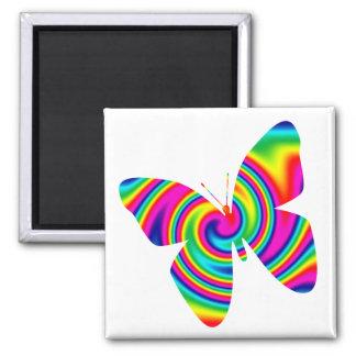 Giro del arco iris de la mariposa imanes para frigoríficos