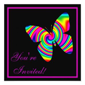 """Giro del arco iris de la mariposa invitación 5.25"""" x 5.25"""""""