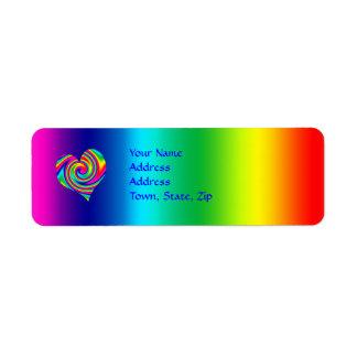 Giro en forma de corazón del arco iris etiqueta de remite