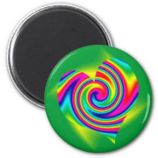 Giro en forma de corazón del arco iris imán para frigorifico