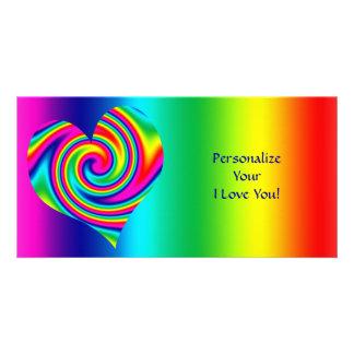 Giro en forma de corazón del arco iris tarjetas con fotos personalizadas