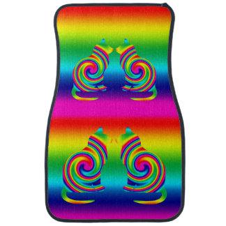 Giro formado gato del arco iris alfombrilla de coche