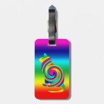 Giro formado gato del arco iris etiqueta para maleta