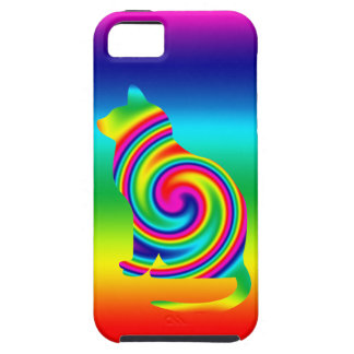 Giro formado gato del arco iris iPhone 5 funda