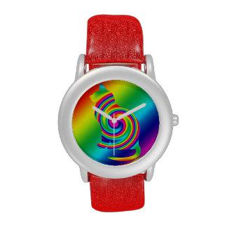 Giro formado gato del arco iris reloj de mano