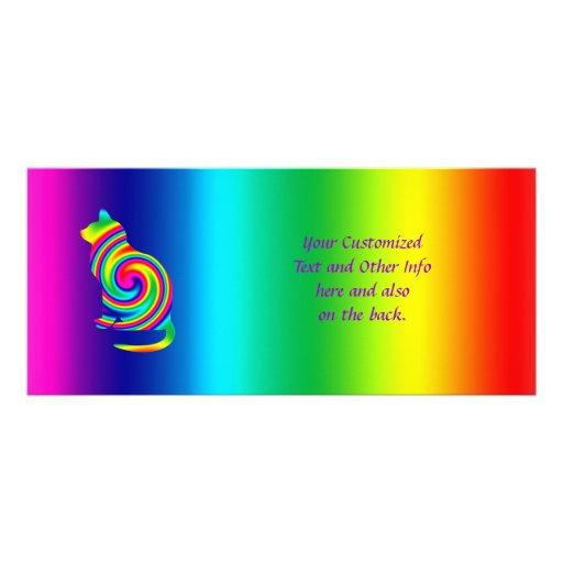 Giro formado gato del arco iris tarjetas publicitarias a todo color