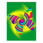 Giro formado mariposa del arco iris postal