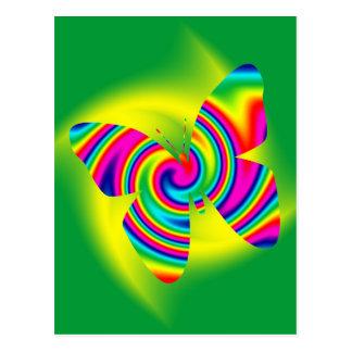 Giro formado mariposa del arco iris tarjeta postal