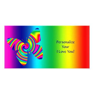 ¡Giro formado mariposa del arco iris, te amo! Tarjeta Fotografica Personalizada