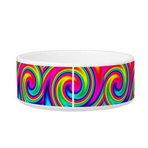 Giro multicolor del arco iris tazones para agua para gatos