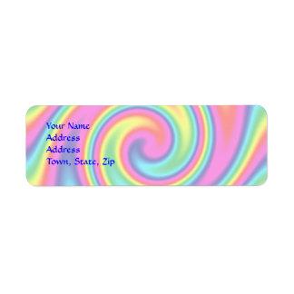 Giro multicolor del arco iris etiqueta de remite