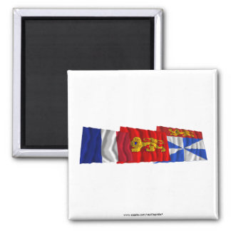 Gironde, Aquitaine & France flags Refrigerator Magnets