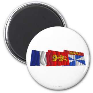 Gironde, Aquitaine & France flags Fridge Magnets