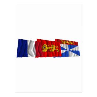 Gironde, Aquitaine & France flags Postcard