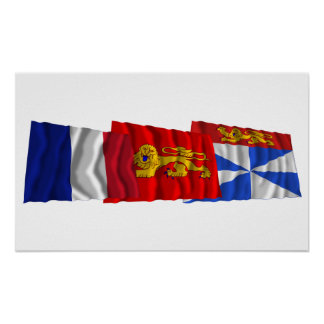 Gironde, Aquitaine & France flags Poster