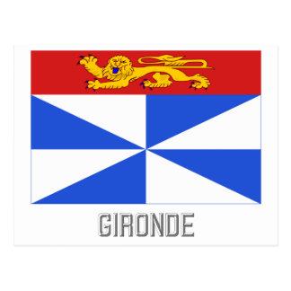 Gironde flag with name postcard