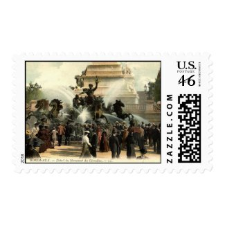 Girondins Statue Bordeaux France Repro Vintage 191 stamp