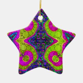Giros abstractos psicodélicos adorno navideño de cerámica en forma de estrella