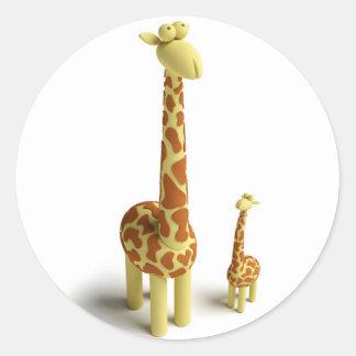 Girrafe y jirafa del bebé etiqueta redonda
