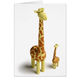 Girrafe y jirafa del bebé tarjeta