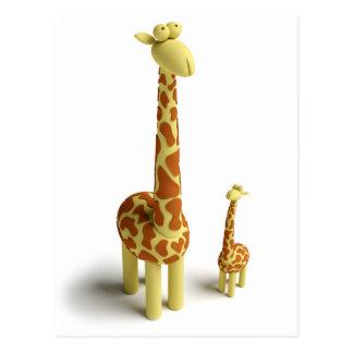 Girrafe y jirafa del bebé tarjetas postales