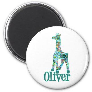 Girraffe for Oliver 2 Inch Round Magnet