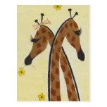 Girraffes en amor tarjeta postal