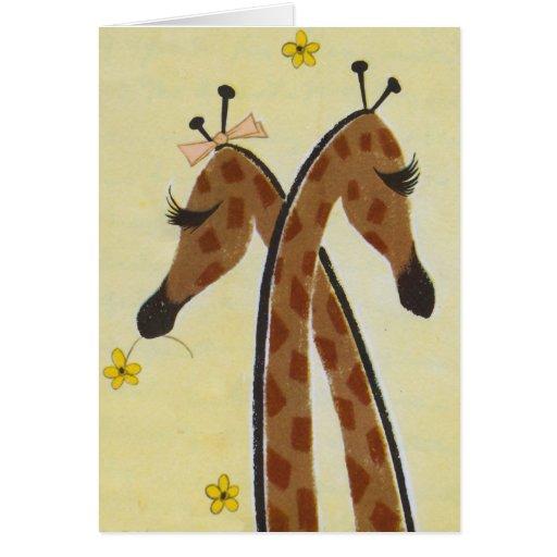 Girraffes in Love Greeting Card