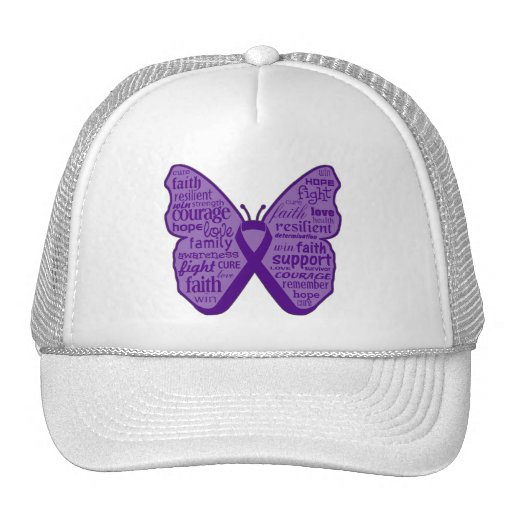 GIST Cancer Butterfly Collage of Words Hat