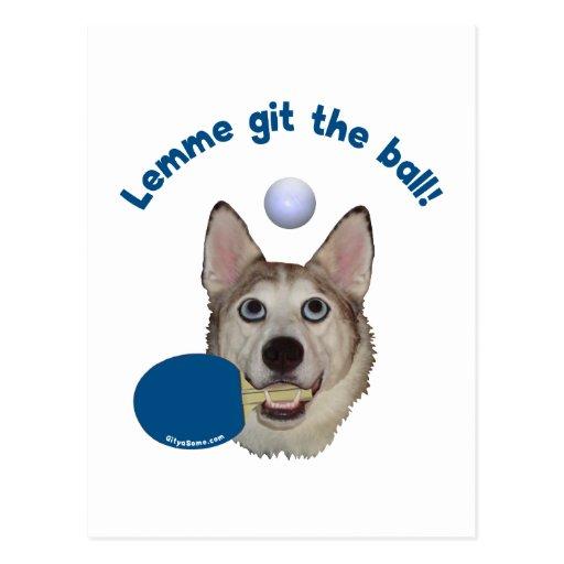 Git el perro del ping-pong de la bola postal
