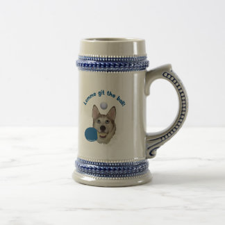 Git the Ball Ping Pong Dog 18 Oz Beer Stein