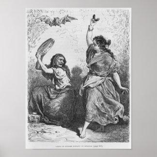 Gitana from Granada dancing the zorongo Poster