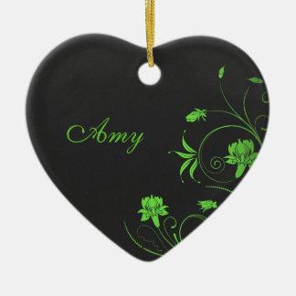 Gitly Green Flowers on Black Monogramed Christmas Tree Ornament