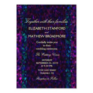 "Gitter rosado, púrpura y azul invitación 5"" x 7"""