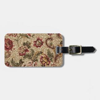 Gittery Earthtone Floral Tapestry Bag Tag
